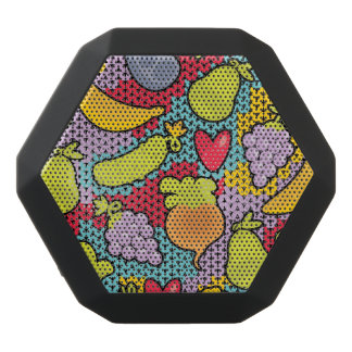 Pattern with fruits and vegetables black bluetooth speaker