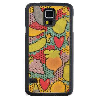 Pattern with fruits and vegetables carved maple galaxy s5 case