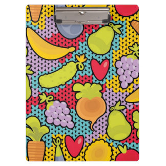 Pattern with fruits and vegetables clipboard