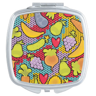Pattern with fruits and vegetables compact mirrors