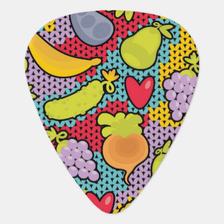 Pattern with fruits and vegetables guitar pick