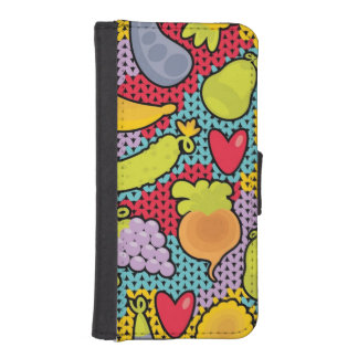 Pattern with fruits and vegetables iPhone SE/5/5s wallet case