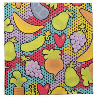 Pattern with fruits and vegetables napkin