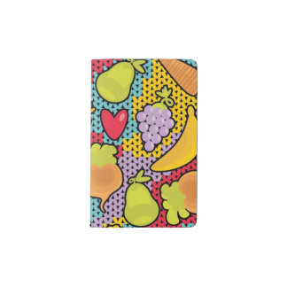 Pattern with fruits and vegetables pocket moleskine notebook