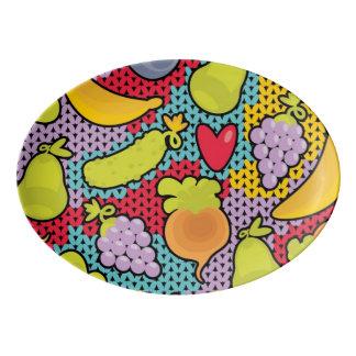 Pattern with fruits and vegetables porcelain serving platter