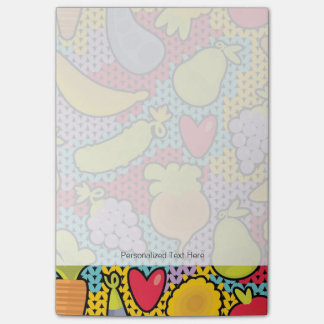 Pattern with fruits and vegetables post-it notes