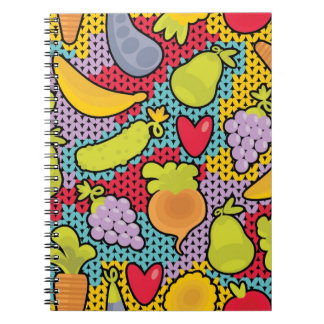 Pattern with fruits and vegetables spiral notebooks
