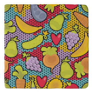 Pattern with fruits and vegetables trivet