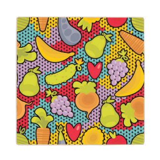 Pattern with fruits and vegetables wood coaster