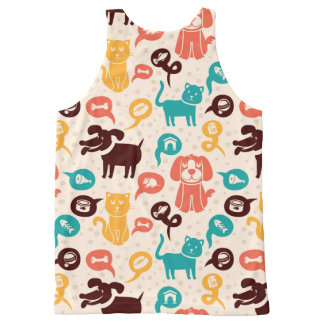 Pattern With Funny Cats And Dogs All-Over Print Tank Top