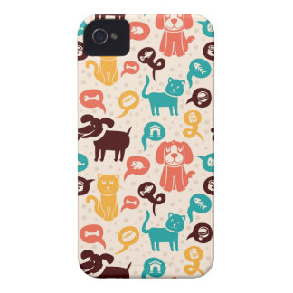 Pattern With Funny Cats And Dogs Case-Mate iPhone 4 Case