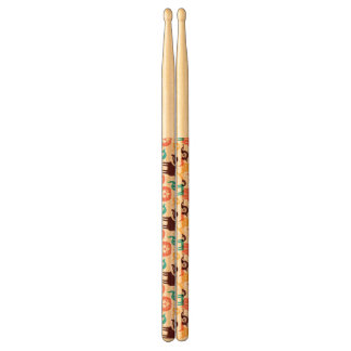 Pattern With Funny Cats And Dogs Drumsticks