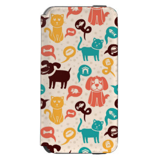 Pattern With Funny Cats And Dogs Incipio Watson™ iPhone 6 Wallet Case