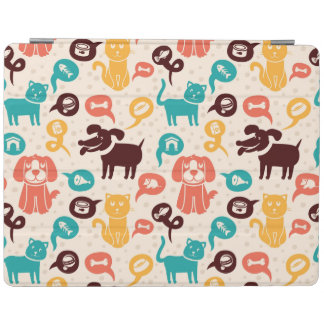 Pattern With Funny Cats And Dogs iPad Cover
