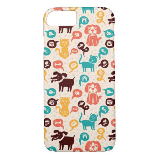Pattern With Funny Cats And Dogs iPhone 7 Case