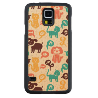 Pattern With Funny Cats And Dogs Maple Galaxy S5 Case