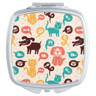 Pattern With Funny Cats And Dogs Mirrors For Makeup