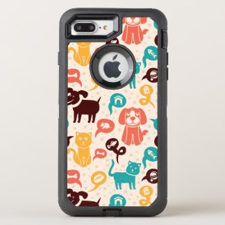 Pattern With Funny Cats And Dogs OtterBox Defender iPhone 8 Plus/7 Plus Case