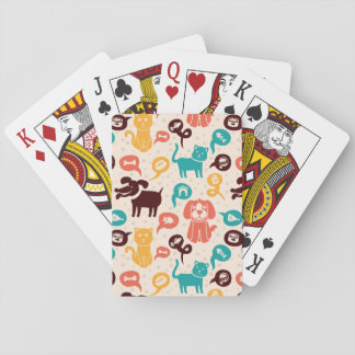 Pattern With Funny Cats And Dogs Playing Cards