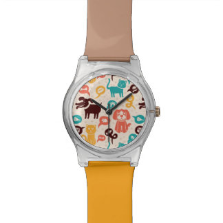 Pattern With Funny Cats And Dogs Watch