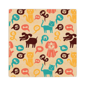 Pattern With Funny Cats And Dogs Wood Coaster