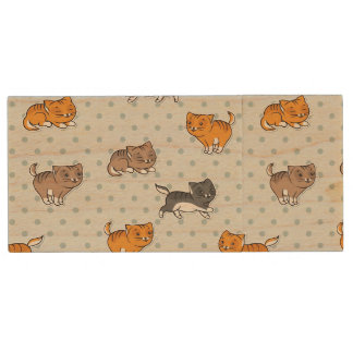 pattern with funny cats wood USB 2.0 flash drive