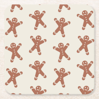 Pattern With Gingerbread Man Square Paper Coaster