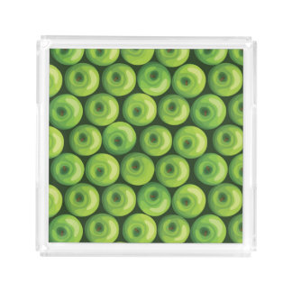 Pattern with Green Apples Acrylic Tray