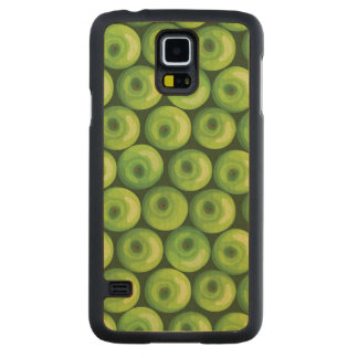 Pattern with Green Apples Carved Maple Galaxy S5 Case