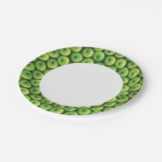 Pattern with Green Apples Paper Plate