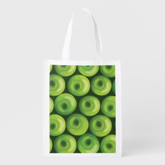Pattern with Green Apples Reusable Grocery Bag