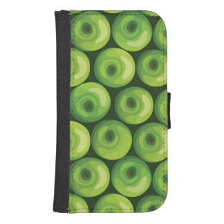 Pattern with Green Apples Samsung S4 Wallet Case