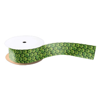 Pattern with Green Apples Satin Ribbon