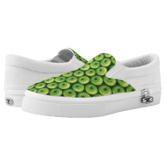 Pattern with Green Apples Slip On Shoes