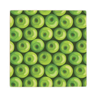 Pattern with Green Apples Wood Coaster