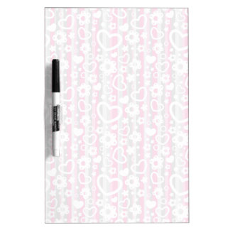 Pattern with Hearts and Flowers Dry Erase Board
