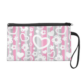 Pattern with Hearts and Flowers Wristlet Purse