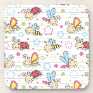 pattern with insects beverage coasters
