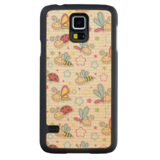 pattern with insects carved maple galaxy s5 case
