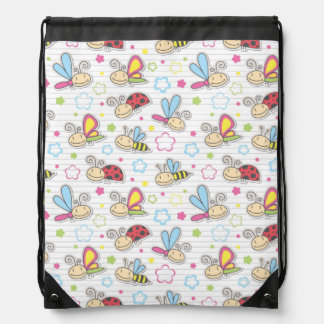 pattern with insects drawstring bag
