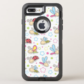 pattern with insects OtterBox defender iPhone 8 plus/7 plus case
