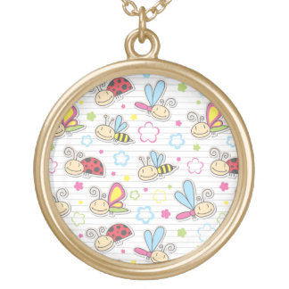 pattern with insects round pendant necklace