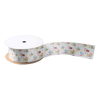 pattern with insects satin ribbon