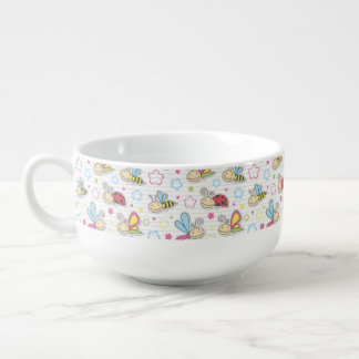 pattern with insects soup mug
