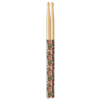 Pattern with kawaii doodle drumsticks