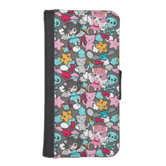 Pattern with kawaii doodle iPhone SE/5/5s wallet case
