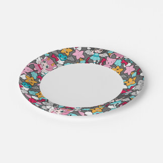 Pattern with kawaii doodle paper plate