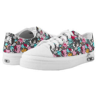 Pattern with kawaii doodle printed shoes