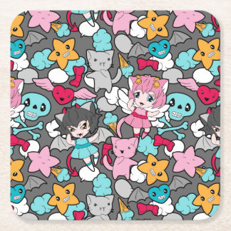 Pattern with kawaii doodle square paper coaster