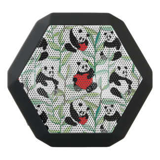 pattern with lovely pandas with hearts black bluetooth speaker